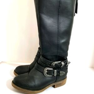 Black Silver Buckle Knee High Boots sz 6